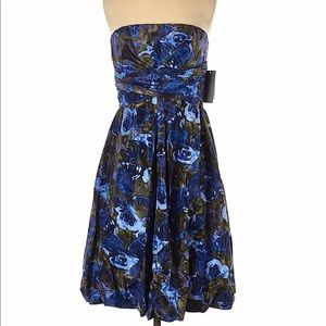DONNA RICCO Strapless floral party cocktail dress